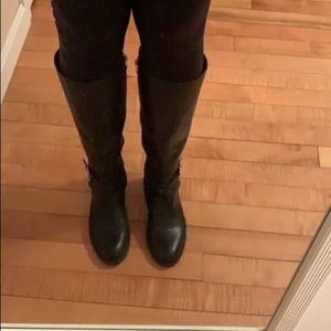 Leather upper fashion riding boots